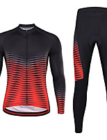 cheap -21Grams Men's Long Sleeve Cycling Jersey with Tights Winter Spandex Red+Black 3D Bike Quick Dry Moisture Wicking Sports Graphic Mountain Bike MTB Road Bike Cycling Clothing Apparel / Stretchy