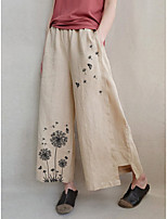 cheap -Women's Casual Streetwear Comfort Chinos Loose Casual Holiday Pants Butterfly Dandelion Ankle-Length Wide Leg Split Elastic Waist Print XL:0.3KG Khaki Dark Blue