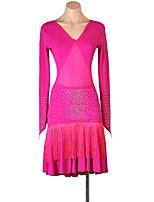 cheap -Latin Dance Dress Tassel Crystals / Rhinestones Women's Training Long Sleeve High Spandex