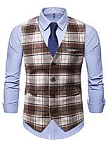 cheap -Men's Vest Gilet Wedding Work Fall Winter Regular Coat Regular Fit Thermal Warm Casual Jacket Sleeveless Plaid / Check Color Block Pocket Patchwork Black Coffee