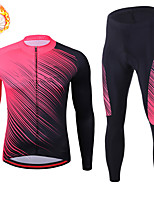 cheap -21Grams Men's Long Sleeve Cycling Jersey with Tights Winter Fleece Spandex Black / Red Stripes Bike Quick Dry Moisture Wicking Sports Stripes Mountain Bike MTB Road Bike Cycling Clothing Apparel