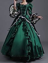 cheap -Ball Gown Elegant Vintage Halloween Quinceanera Dress Square Neck Long Sleeve Floor Length Satin with Bow(s) Ruffles Lace Insert 2021