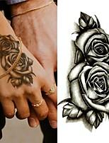 cheap -10pcs Tattoo Sticker Black Double Rose Flowers Tattoos Sticker Fake Body Art Water Transfer Sticker Deals