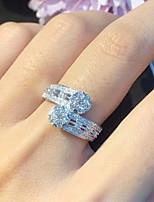 cheap -Women Ring AAA Cubic Zirconia Geometrical Silver Brass Floral Theme Elegant Fashion Korean 1pc / Women's