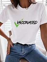 cheap -Women's Painting T shirt Text Print Round Neck Basic Tops White Black