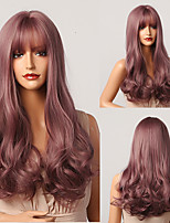 cheap -HAIR CUBE Long Wave Synthetic Wig Purple Pink Ombre Hair Wigs with Bangs Daily Cosplay Party Wig for Women Afro Heat Resistant