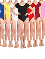 cheap -Ballet Leotard Gymnastics Leotards Women's Girls' Kids Bodysuit Spandex High Elasticity Quick Dry Breathable Sweat wicking Solid Color Short Sleeve Training Competition Ballet Dance Rhythmic