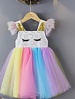 cheap -Kids Little Girls' Dress Cartoon Polka Dot colour Tulle Dress Party Mesh Multicolor Midi Sleeveless Princess Cute Dresses Summer Regular Fit 2-8 Years