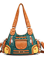 cheap -Women's Bags PU Leather Top Handle Bag Zipper Solid Color Vintage Daily Handbags Fuchsia Green Black Brown