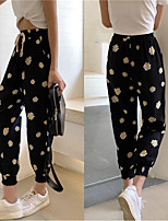 cheap -Women's Fashion Casual / Sporty Comfort Sweatpants Casual Weekend Pants Flower / Floral Ankle-Length Elastic Drawstring Design Print Black