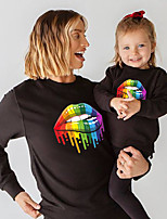 cheap -Tops Mommy and Me Color Block Daily Print Gray White Black Long Sleeve Daily Matching Outfits / Fall / Winter / Cute