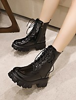 cheap -Women's Boots Chunky Heel Round Toe Booties Ankle Boots Daily Work Patent Leather Microfiber Solid Colored Red White Black / Booties / Ankle Boots