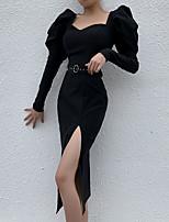 cheap -Sheath / Column Little Black Dress Vintage Halloween Party Wear Dress Sweetheart Neckline Long Sleeve Tea Length Spandex with Sash / Ribbon Split 2021