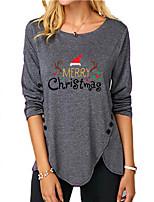 cheap -Women's Christmas Abstract Painting T shirt Text Reindeer Long Sleeve Button Print Round Neck Basic Christmas Tops Regular Fit Blue Purple Gray
