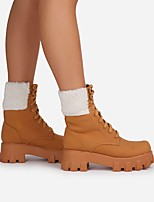 cheap -Women's Boots Block Heel Round Toe Mid Calf Boots Daily PU Lace-up Solid Colored Camel Black