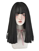 cheap -black straight hair wig with bangs natural synthetic wig cosplay wig for women (black , 18inch)