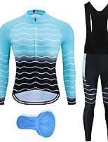 cheap -21Grams Men's Long Sleeve Cycling Jersey with Bib Tights Spandex Black / Blue Bike Quick Dry Moisture Wicking Sports Lines / Waves Mountain Bike MTB Road Bike Cycling Clothing Apparel / Stretchy