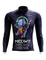 cheap -21Grams Men's Long Sleeve Cycling Jersey Spandex Polyester Blue Cat 3D Funny Bike Top Mountain Bike MTB Road Bike Cycling Quick Dry Moisture Wicking Breathable Sports Clothing Apparel / Stretchy
