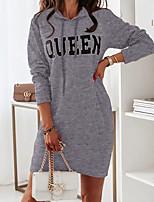 cheap -Women's Sheath Dress Short Mini Dress Blue Gray Khaki Green Black Long Sleeve Letter Ruched Fall Winter Round Neck Casual 2021 S M L XL XXL 3XL
