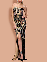 cheap -Sheath / Column Sparkle Sexy Party Wear Formal Evening Dress Strapless Sleeveless Floor Length Sequined with Sequin Split 2021