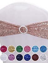 cheap -10 PCS Chair Sashes Sequin Stretchy Spandex Bands Decorative Bows One-Sided Sequins Decor for Romantic Wedding Party Home Chair Cover Sash Decorations 15*35cm/14*6inch