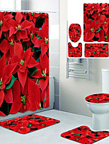 cheap -Beautiful Red Leaves Printed Bathroom home Decoration Bathroom shower curtain lining waterproof shower curtain with 12 hooks floor mats and four-piece toilet mats.