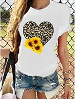 cheap -sunflower & heart printed casual short sleeve t-shirt