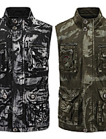 cheap -Men's Vest Gilet Street Daily Going out Fall Summer Regular Coat Zipper Stand Collar Regular Fit Breathable Casual Jacket Sleeveless Camo / Camouflage Pocket Print Army Green Black / Outdoor