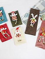 cheap -2pcs Christmas decorations three-dimensional Cloth Doll Christmas flannel red wine set champagne bottle set