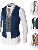 cheap -Men's Vest Gilet Business Daily Spring Summer Short Coat Regular Fit Lightweight Breathable Business Casual Jacket Sleeveless Solid Color Pocket Patchwork Blue Khaki Green