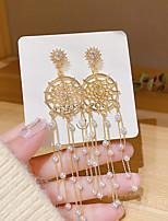 cheap -Women's Pearl Drop Earrings Tassel Fringe Dream Catcher Stylish Earrings Jewelry Gold For Gift Daily Festival 1 Pair