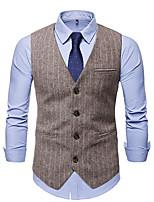 cheap -Men's Vest Gilet Wedding Work Fall Winter Regular Coat Regular Fit Thermal Warm Casual Jacket Sleeveless Striped Solid Color Pocket Patchwork Dark Gray Coffee