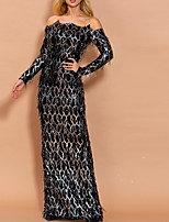 cheap -Sheath / Column Sparkle Elegant Party Wear Formal Evening Dress Off Shoulder Long Sleeve Floor Length Sequined with Sequin 2021