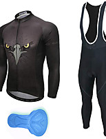 cheap -21Grams Men's Long Sleeve Cycling Jersey with Bib Tights Spandex Polyester Black Eagle Funny Bike Clothing Suit 3D Pad Quick Dry Moisture Wicking Breathable Back Pocket Sports Patterned Mountain Bike