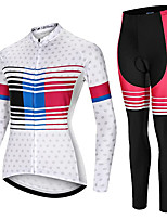 cheap -21Grams Women's Long Sleeve Cycling Jersey with Tights Spandex White Dot Bike Quick Dry Moisture Wicking Sports Dot Mountain Bike MTB Road Bike Cycling Clothing Apparel / Stretchy / Athletic