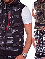 cheap -Men's Vest Gilet Sport Daily Spring Summer Short Coat Regular Fit Quick Dry Lightweight Breathable Sporty Casual Jacket Sleeveless Camo / Camouflage Full Zip Dark Grey Light Grey Army Green