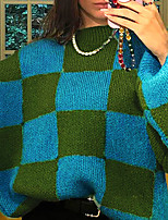 cheap -Women's Sweater Knitted Plaid Stylish Long Sleeve Sweater Cardigans Crew Neck Fall Winter Blue