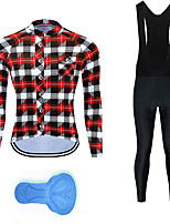 cheap -21Grams Men's Long Sleeve Cycling Jersey with Bib Tights Summer Spandex Polyester Red Blue Plaid Checkered Funny Bike Clothing Suit 3D Pad Quick Dry Moisture Wicking Breathable Back Pocket Sports