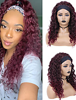 cheap -Synthetic Wig Afro Curly With Headband Wig Long Dark Wine Brown Black Synthetic Hair Women's Cosplay Soft Party Black Brown