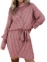 cheap -Women's Sweater Jumper Dress Knee Length Dress Blushing Pink Gray Green Black Red Brown Long Sleeve Solid Color Bow Fall Winter Turtleneck Casual 2021 S M L XL