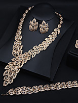 cheap -Women's Cubic Zirconia Bridal Jewelry Sets Earrings Set Classic Leaf Statement European Earrings Jewelry Silver / Gold For Party Wedding Four-piece Suit