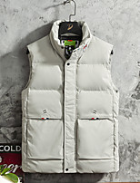 cheap -Men's Gilet Street Daily Going out Fall Winter Regular Coat Zipper Stand Collar Regular Fit Thermal Warm Breathable Sporty Casual Jacket Sleeveless Plain Full Zip Pocket Khaki Black / Outdoor