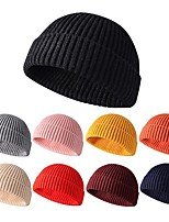cheap -Men's Protective Hat Street Dailywear Knitted Color Block Pure Color Black Hat
