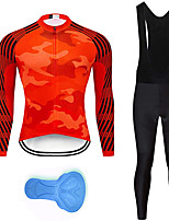 cheap -21Grams Men's Long Sleeve Cycling Jersey with Bib Tights Summer Spandex Red Stripes Camo / Camouflage Bike Quick Dry Moisture Wicking Sports Stripes Mountain Bike MTB Road Bike Cycling Clothing