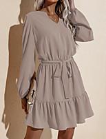 cheap -Women's Sheath Dress Knee Length Dress Wine Khaki Black Long Sleeve Solid Color Lace up Fall V Neck Sexy 2021 S M L XL