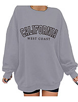 cheap -Women's Sweatshirt Pullover Text Monograms Daily Sports Hot Stamping Cotton Streetwear Oversized Hoodies Sweatshirts  Loose Gray Black