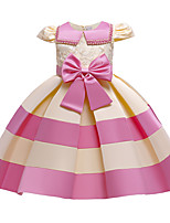 cheap -Kids Little Girls' Dress Jacquard Party Special Occasion Bow Blue Blushing Pink Wine Above Knee Short Sleeve Princess Cute Dresses Children's Day Fall Winter Slim 3-10 Years / Spring / Summer