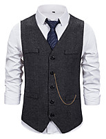 cheap -Men's Vest Daily Fall Regular Coat Regular Fit Thermal Warm Sporty Jacket Sleeveless Solid Color Pocket Gray Black Coffee
