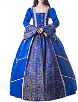 cheap -Ball Gown Elegant Vintage Halloween Quinceanera Dress Square Neck Long Sleeve Floor Length Satin with Bow(s) Lace Insert Pattern / Print 2021