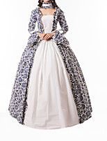 cheap -Ball Gown Elegant Vintage Halloween Quinceanera Dress Square Neck Long Sleeve Floor Length Cotton Blend with Bow(s) Ruffles 2021